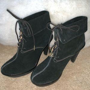 Michael Kors Black Suede Heel Ankle Boots Size 9